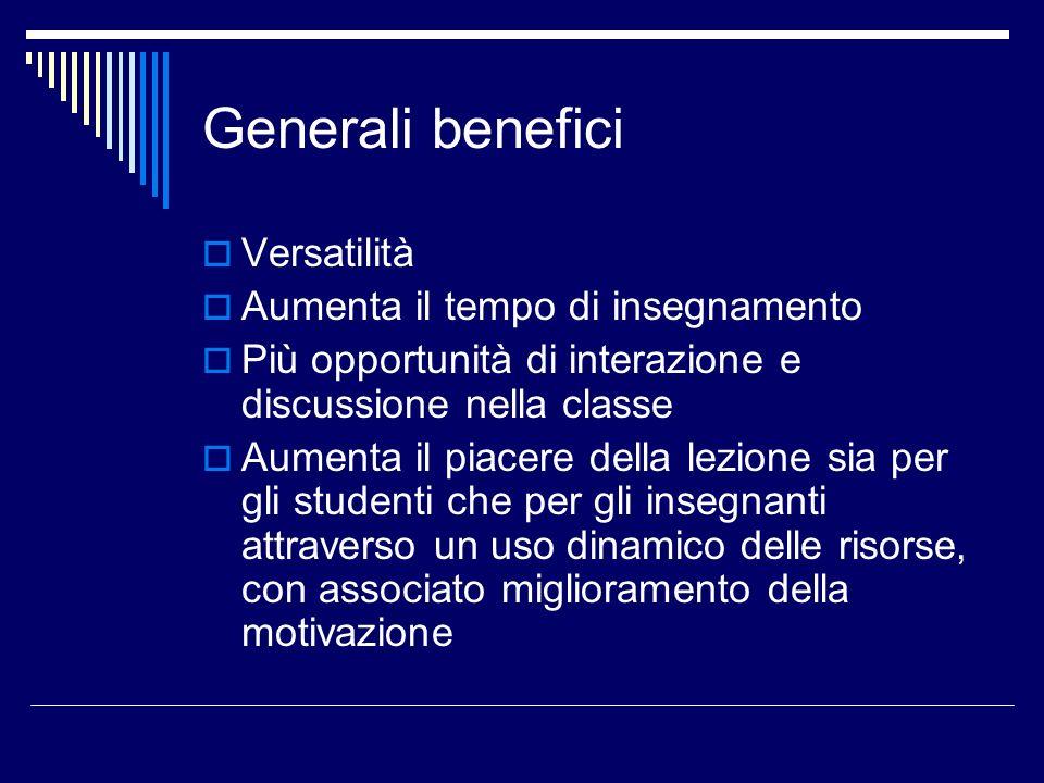 Generali benefici Versatilità Aumenta il tempo di insegnamento Più opportunità di interazione e discussione nella classe Aumenta il piacere della lezi