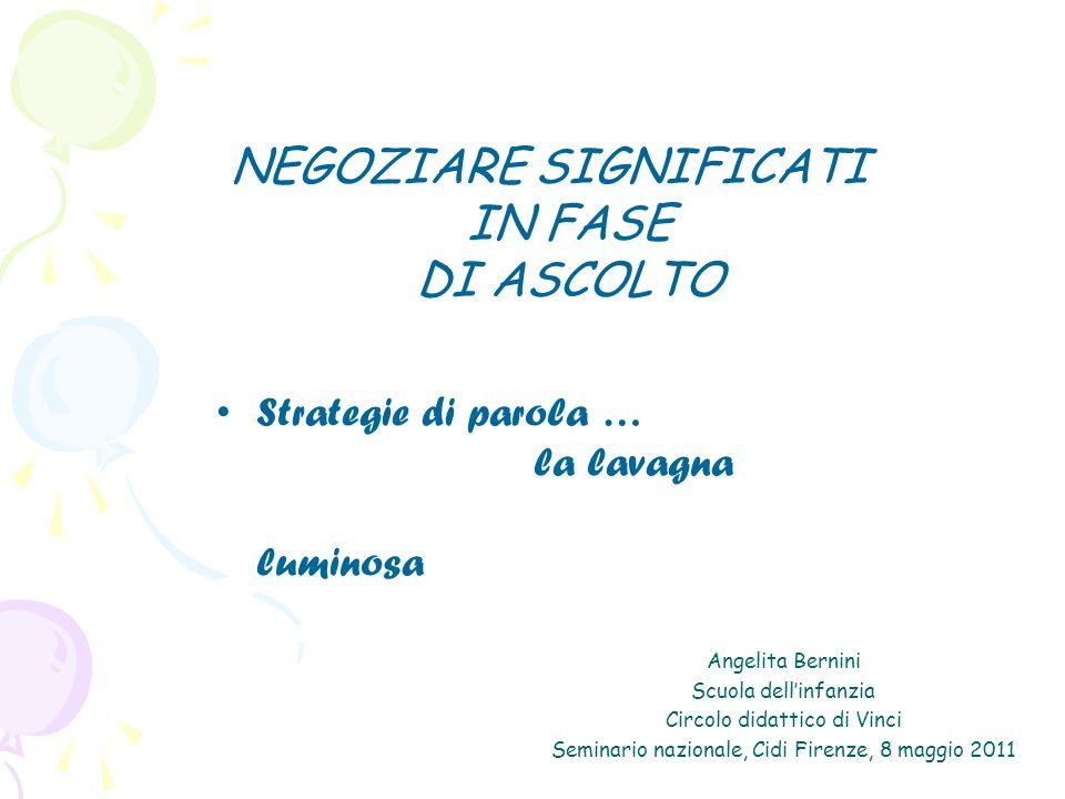 Angelita Bernini Scuola dellinfanzia Circolo didattico di Vinci Seminario nazionale, Cidi Firenze, 8 maggio 2011 NEGOZIARE SIGNIFICATI IN FASE DI ASCOLTO Strategie di parola … la lavagna luminosa