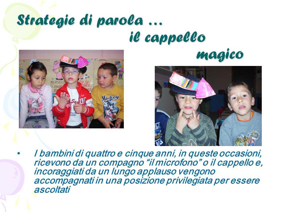 Strategie di parola … il cappello magico I bambini di quattro e cinque anni, in queste occasioni, ricevono da un compagno il microfono o il cappello e, incoraggiati da un lungo applauso vengono accompagnati in una posizione privilegiata per essere ascoltati