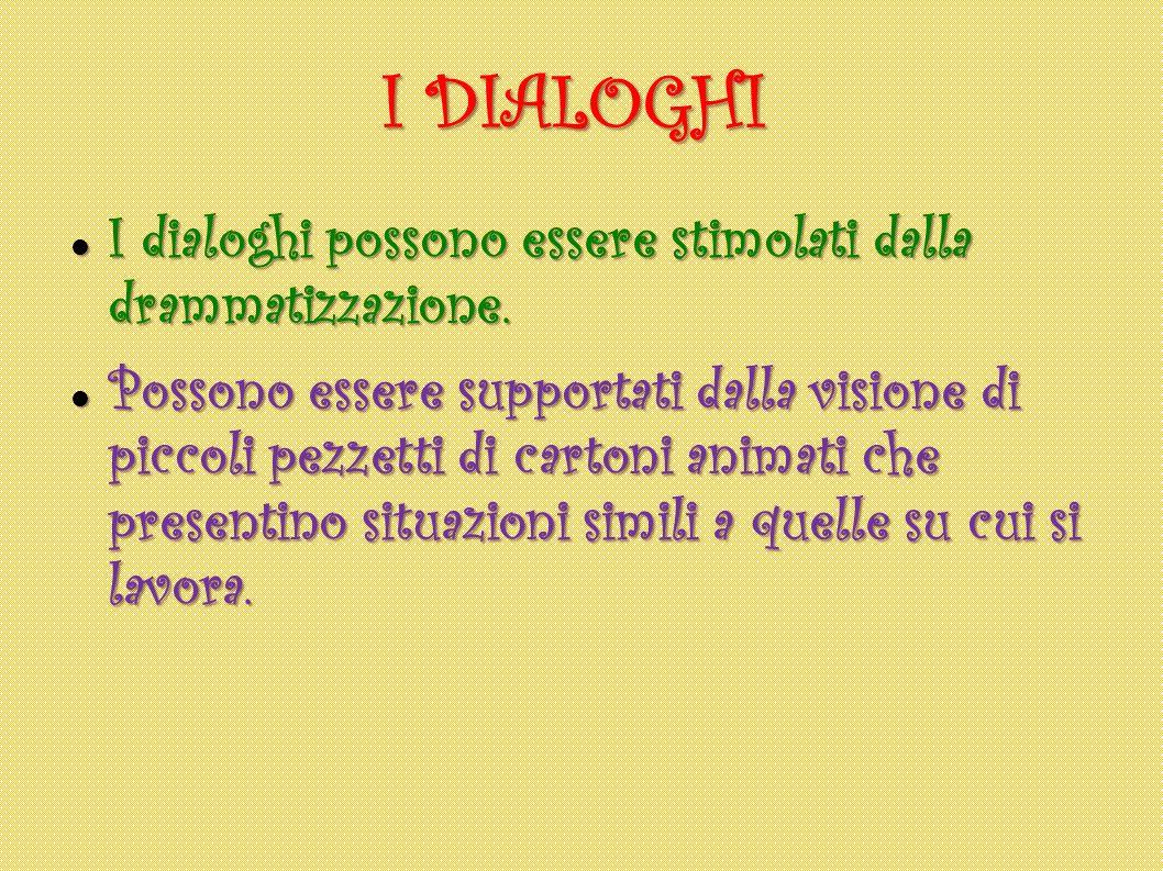 I DIALOGHI I dialoghi possono essere stimolati dalla drammatizzazione. I dialoghi possono essere stimolati dalla drammatizzazione. Possono essere supp
