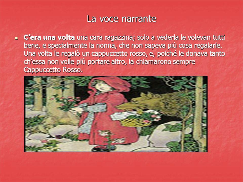 La voce narrante Cera una volta una cara ragazzina; solo a vederla le volevan tutti bene, e specialmente la nonna, che non sapeva più cosa regalarle.