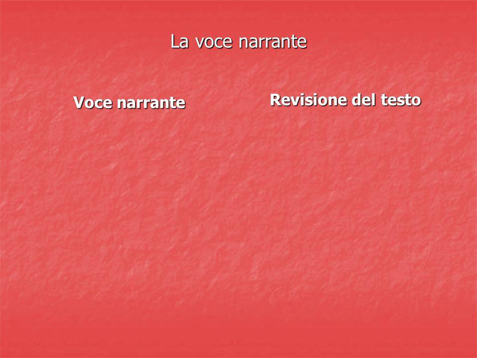 La voce narrante Voce narrante Revisione del testo Revisione del testo