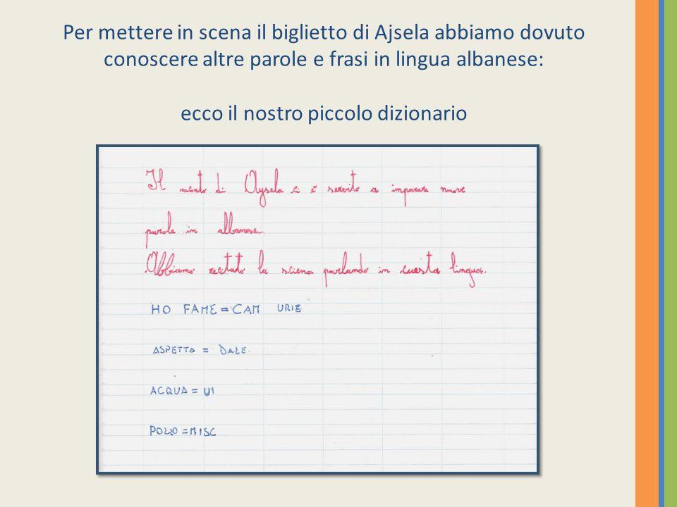 Per mettere in scena il biglietto di Ajsela abbiamo dovuto conoscere altre parole e frasi in lingua albanese: ecco il nostro piccolo dizionario