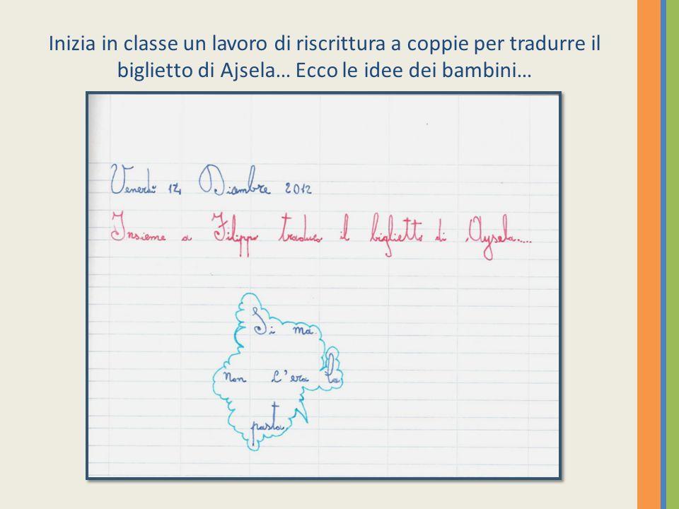 Inizia in classe un lavoro di riscrittura a coppie per tradurre il biglietto di Ajsela… Ecco le idee dei bambini…