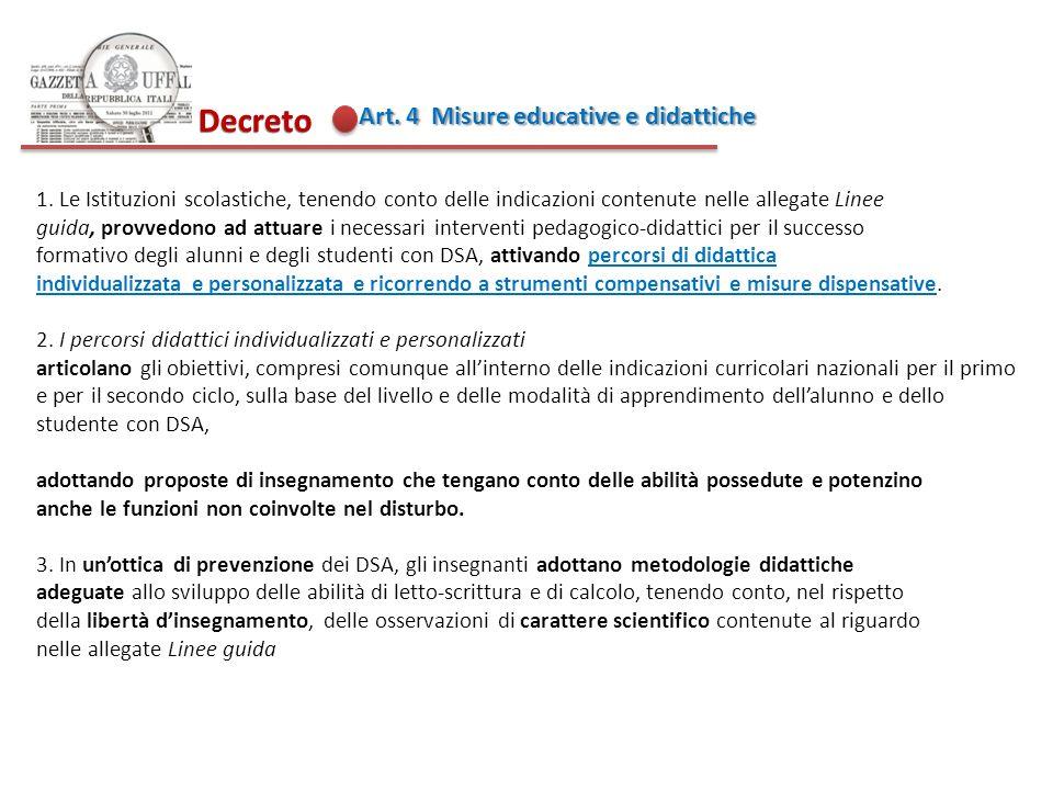 Decreto Art. 4 Misure educative e didattiche 1. Le Istituzioni scolastiche, tenendo conto delle indicazioni contenute nelle allegate Linee guida, prov