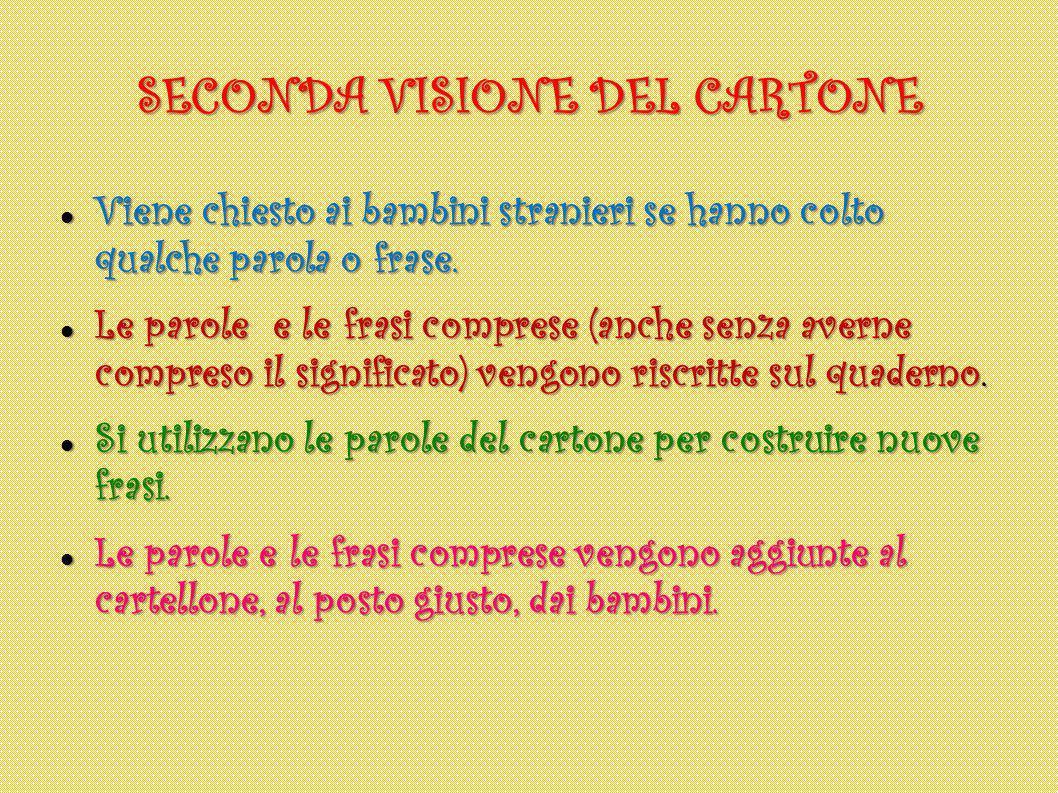SECONDA VISIONE DEL CARTONE Viene chiesto ai bambini stranieri se hanno colto qualche parola o frase.