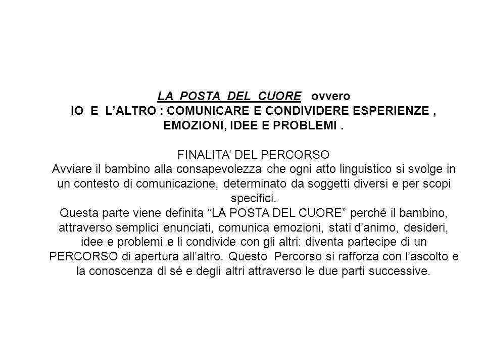 LA POSTA DEL CUORE ovvero IO E LALTRO : COMUNICARE E CONDIVIDERE ESPERIENZE, EMOZIONI, IDEE E PROBLEMI.