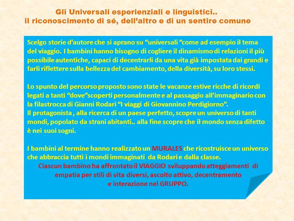 Gli Universali esperienziali e linguistici.. il riconoscimento di sé, dellaltro e di un sentire comune Scelgo storie dautore che si aprano su universa