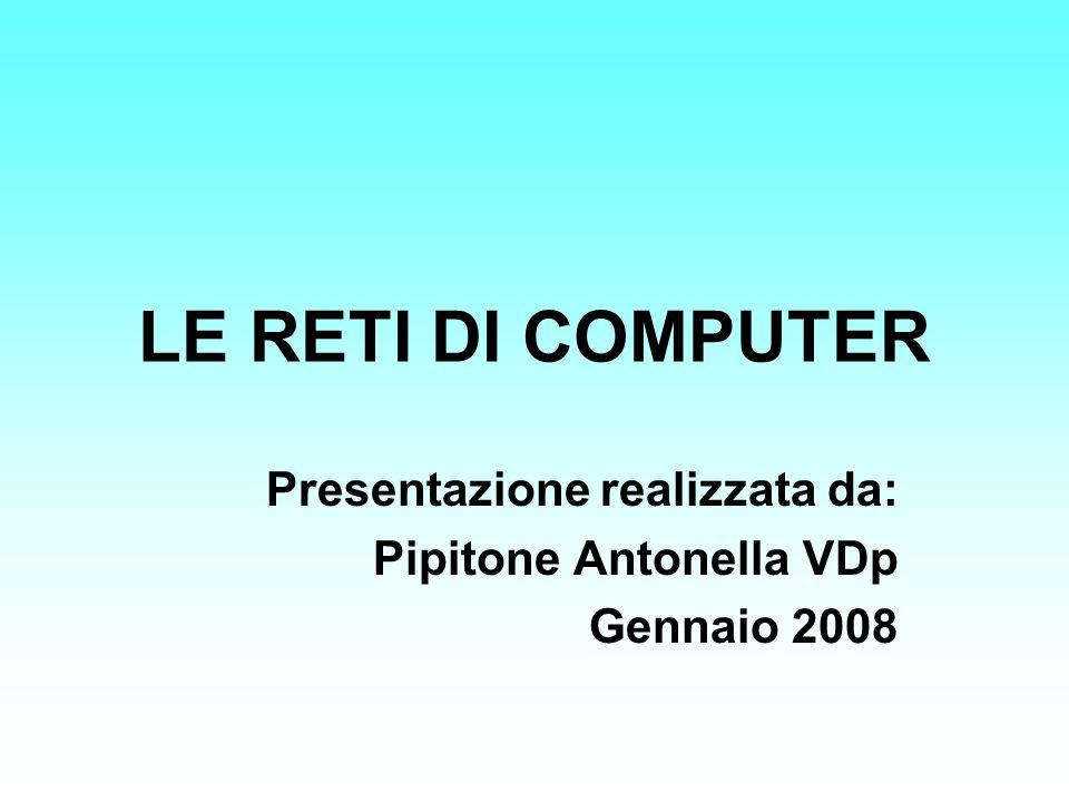 LE RETI DI COMPUTER Presentazione realizzata da: Pipitone Antonella VDp Gennaio 2008