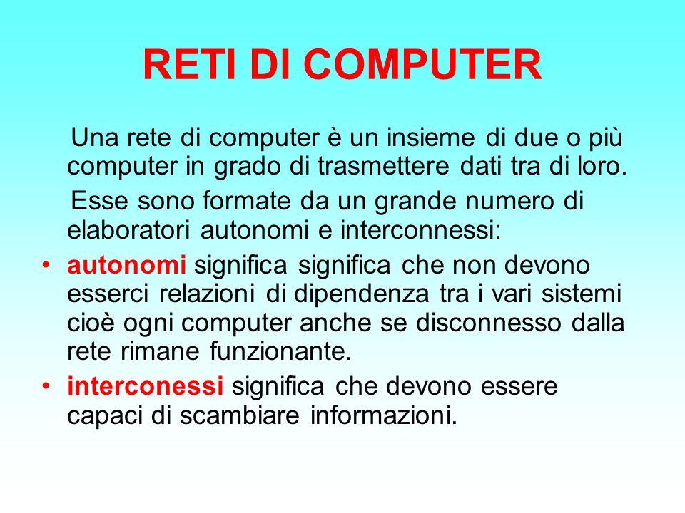 RETI DI COMPUTER Una rete di computer è un insieme di due o più computer in grado di trasmettere dati tra di loro. Esse sono formate da un grande nume
