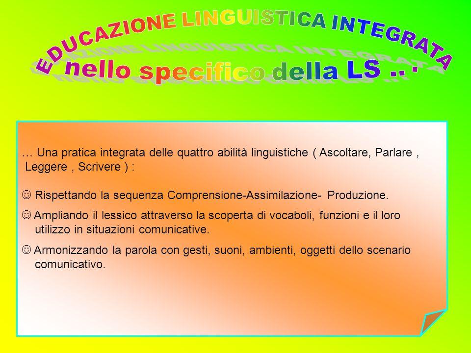 … Una pratica integrata delle quattro abilità linguistiche ( Ascoltare, Parlare, Leggere, Scrivere ) : Rispettando la sequenza Comprensione-Assimilazi