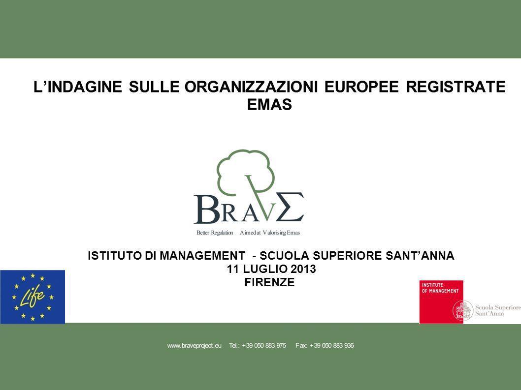 LINDAGINE SULLE ORGANIZZAZIONI EUROPEE REGISTRATE EMAS ISTITUTO DI MANAGEMENT - SCUOLA SUPERIORE SANTANNA 11 LUGLIO 2013 FIRENZE