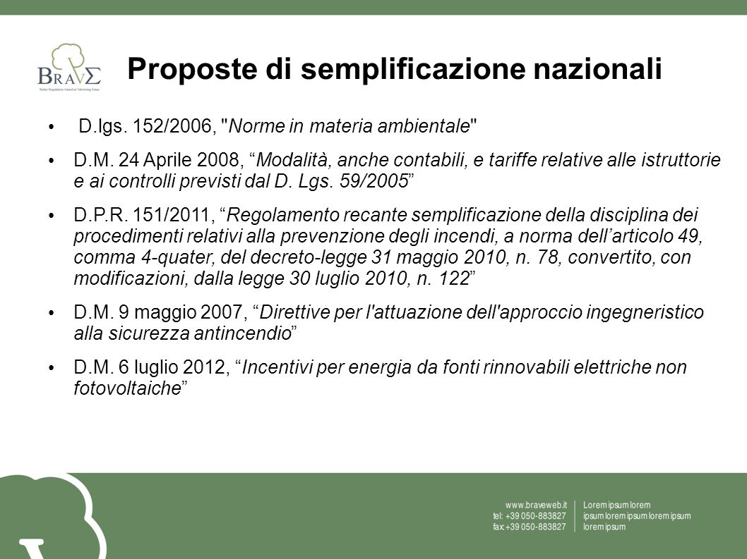 Proposte di semplificazione nazionali D.lgs. 152/2006,