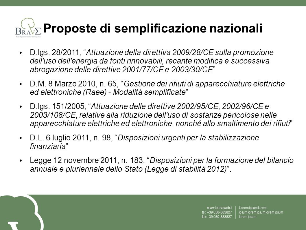Proposte di semplificazione nazionali D.lgs. 28/2011, Attuazione della direttiva 2009/28/CE sulla promozione dell'uso dell'energia da fonti rinnovabil