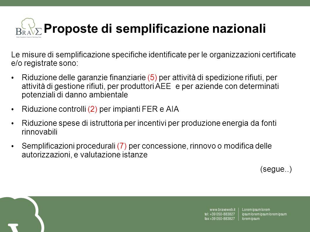 Proposte di semplificazione nazionali Le misure di semplificazione specifiche identificate per le organizzazioni certificate e/o registrate sono: Ridu