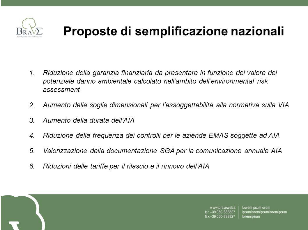 Proposte di semplificazione nazionali 1.Riduzione della garanzia finanziaria da presentare in funzione del valore del potenziale danno ambientale calc