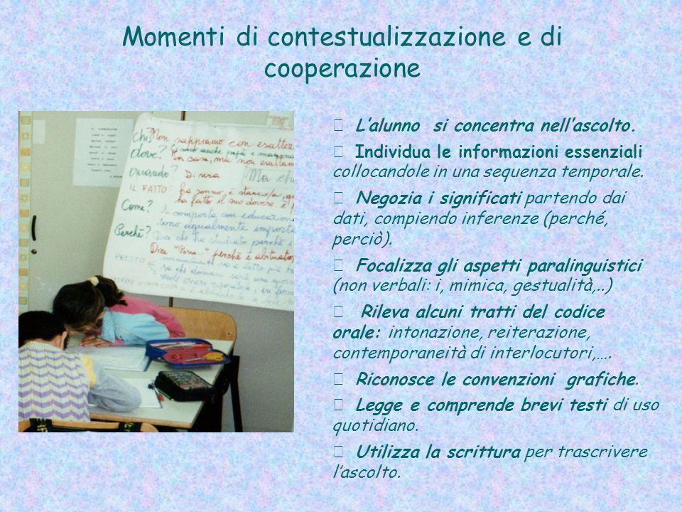 Momenti di contestualizzazione e di cooperazione Lalunno si concentra nellascolto.