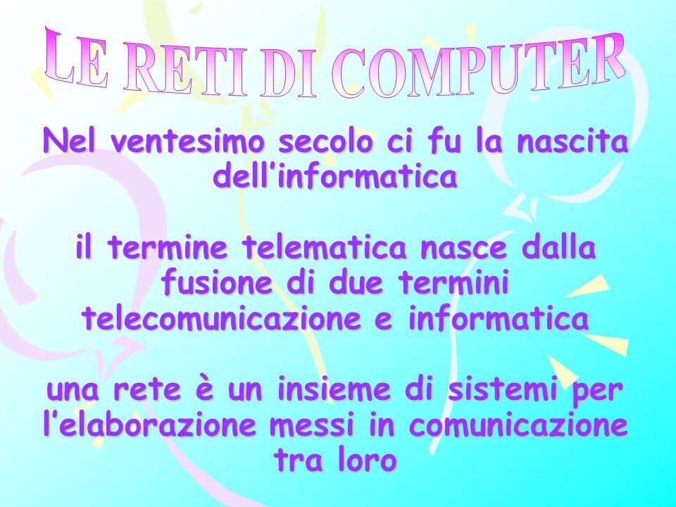Nel ventesimo secolo ci fu la nascita dellinformatica il termine telematica nasce dalla fusione di due termini telecomunicazione e informatica una rete è un insieme di sistemi per lelaborazione messi in comunicazione tra loro