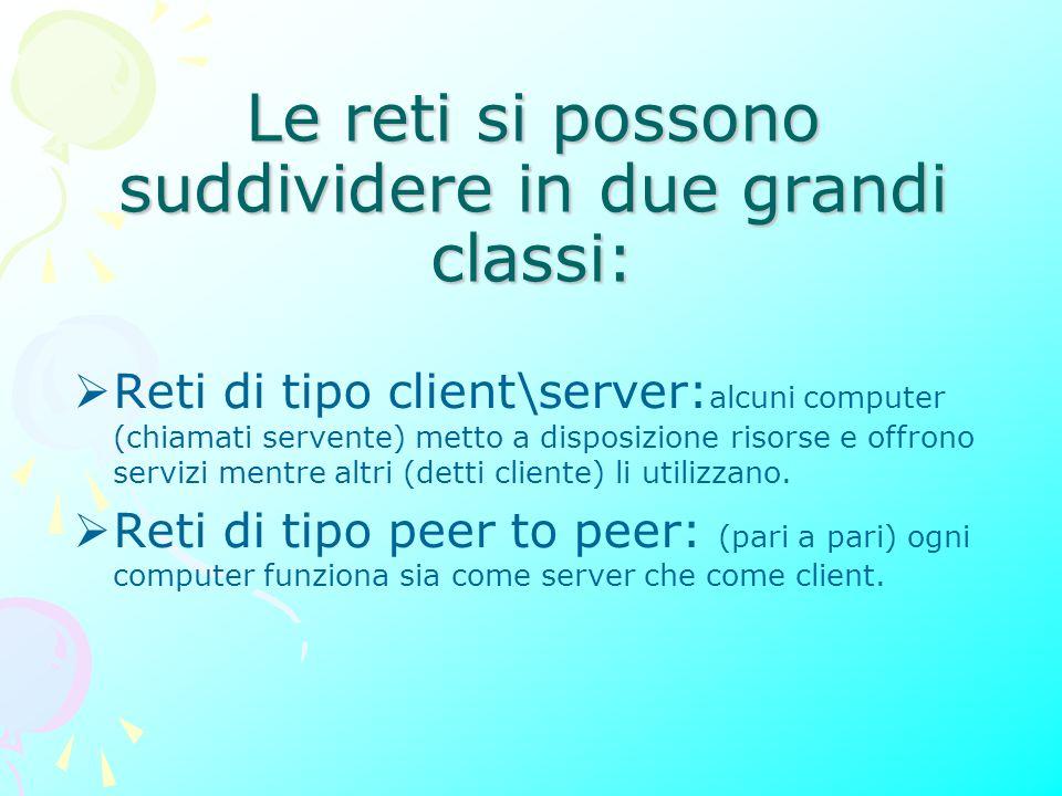 Le reti si possono suddividere in due grandi classi: Reti di tipo client\server: alcuni computer (chiamati servente) metto a disposizione risorse e offrono servizi mentre altri (detti cliente) li utilizzano.