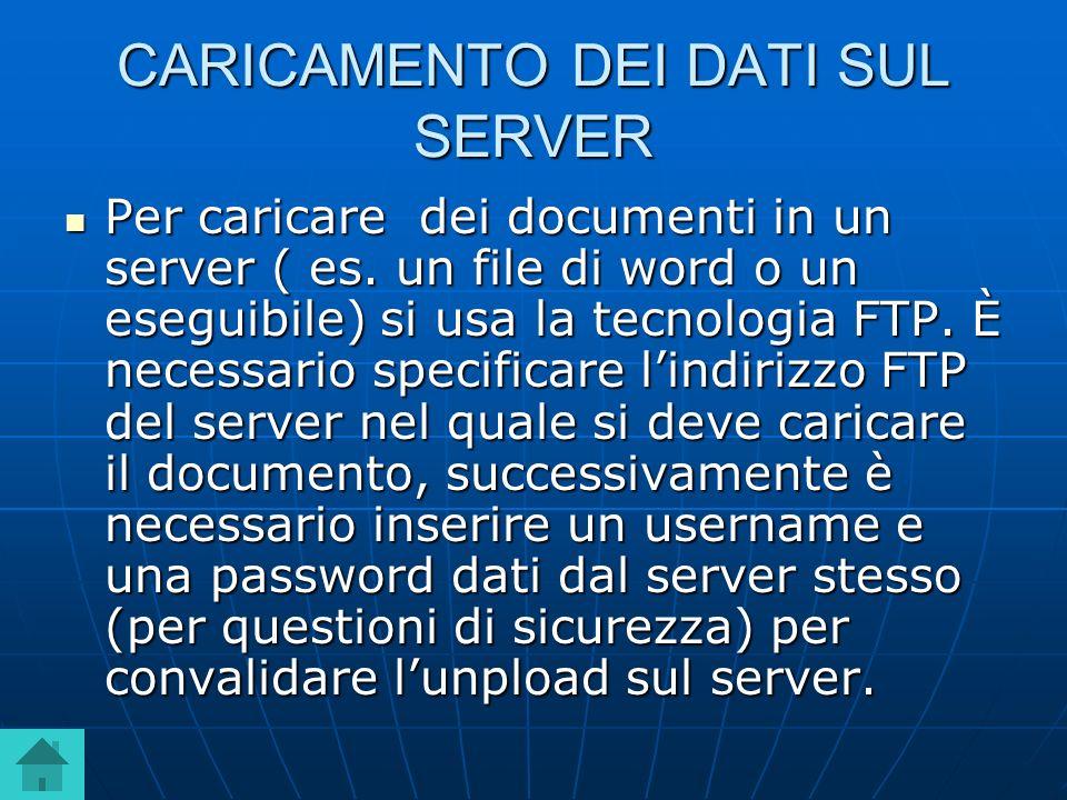CARICAMENTO DEI DATI SUL SERVER Per caricare dei documenti in un server ( es. un file di word o un eseguibile) si usa la tecnologia FTP. È necessario