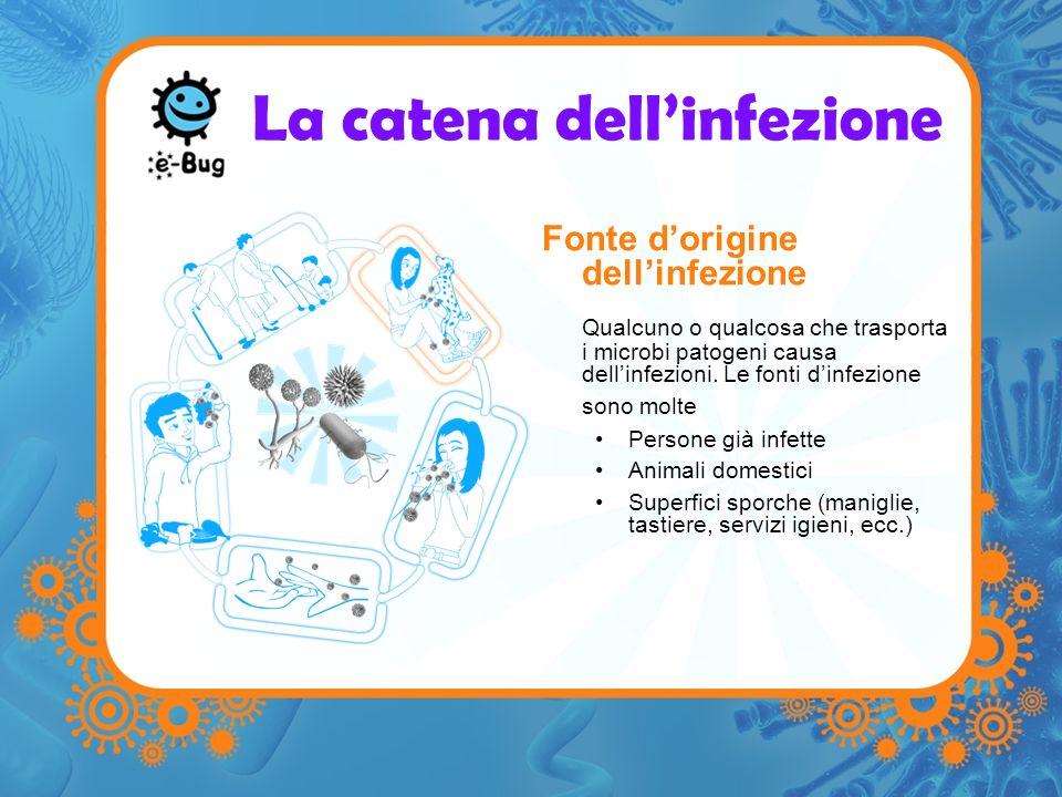 La catena dellinfezione Fonte dorigine dellinfezione Qualcuno o qualcosa che trasporta i microbi patogeni causa dellinfezioni. Le fonti dinfezione son