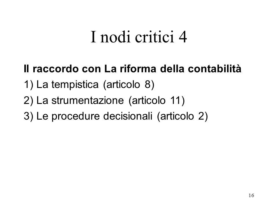 16 I nodi critici 4 Il raccordo con La riforma della contabilità 1) La tempistica (articolo 8) 2) La strumentazione (articolo 11) 3) Le procedure decisionali (articolo 2)