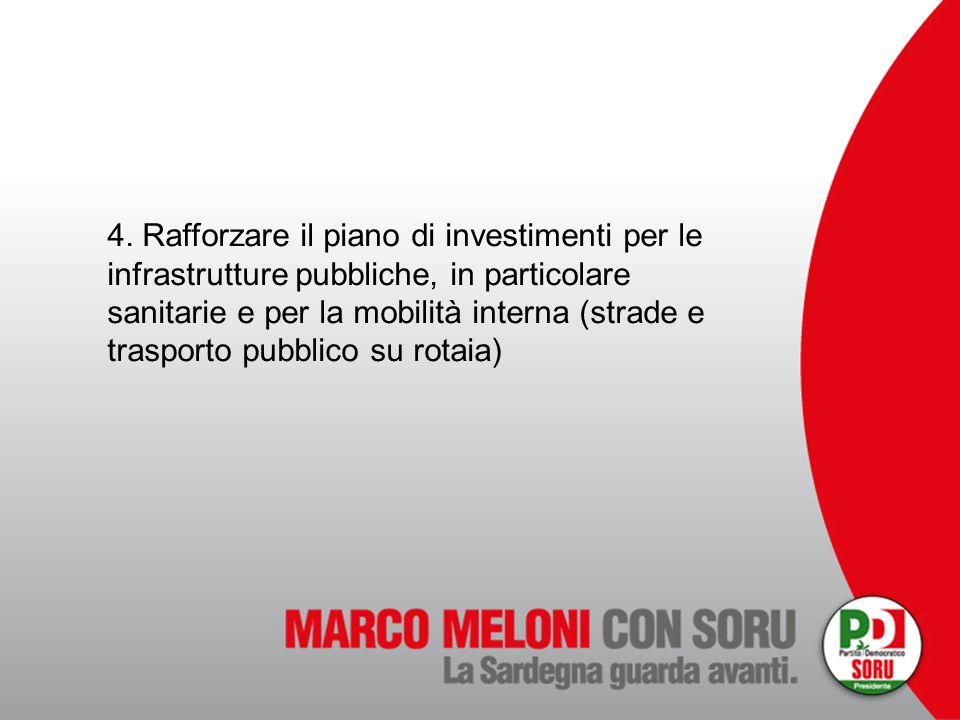 4. Rafforzare il piano di investimenti per le infrastrutture pubbliche, in particolare sanitarie e per la mobilità interna (strade e trasporto pubblic