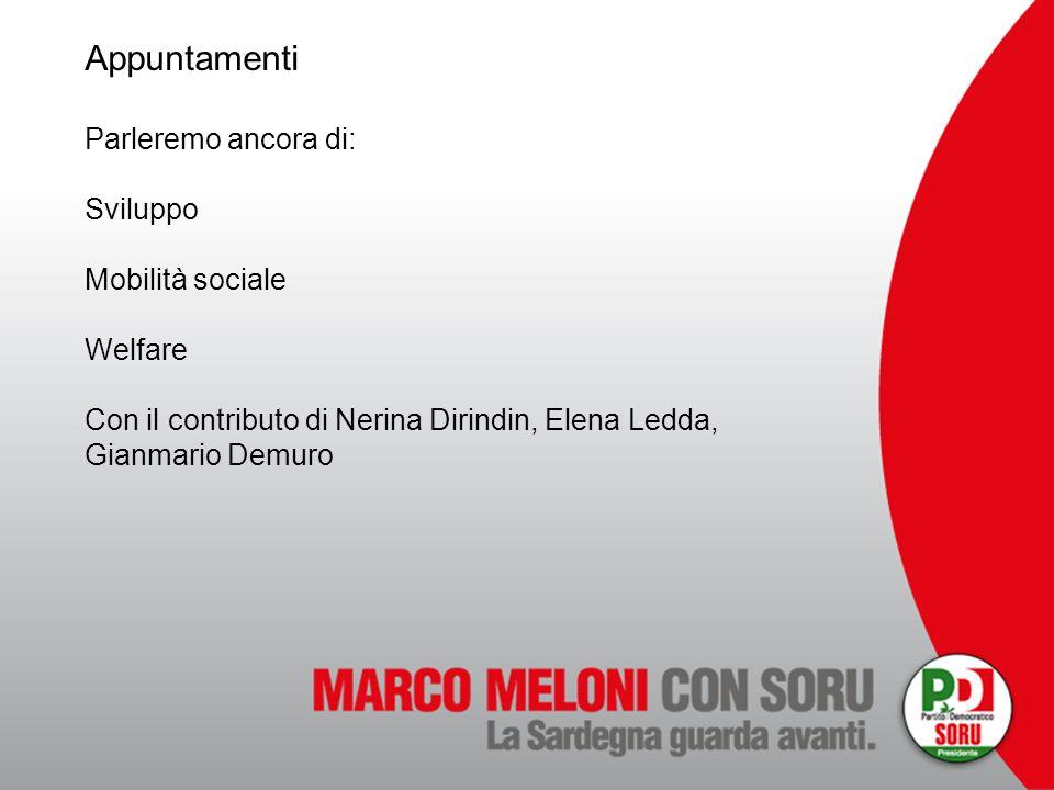 Appuntamenti Parleremo ancora di: Sviluppo Mobilità sociale Welfare Con il contributo di Nerina Dirindin, Elena Ledda, Gianmario Demuro