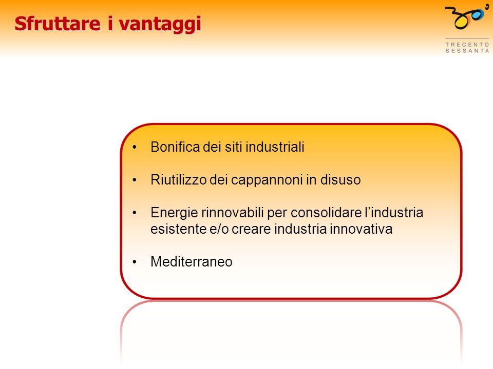 Sfruttare i vantaggi Bonifica dei siti industriali Riutilizzo dei cappannoni in disuso Energie rinnovabili per consolidare lindustria esistente e/o creare industria innovativa Mediterraneo