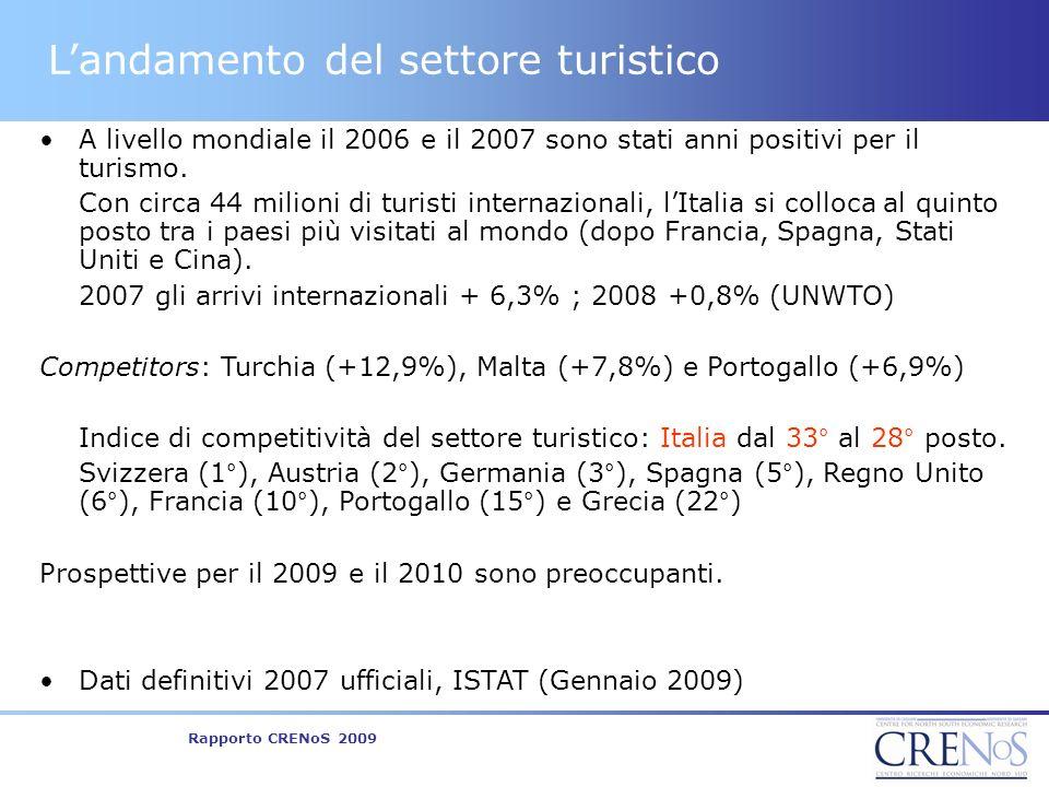 Rapporto CRENoS 2009 Landamento del settore turistico A livello mondiale il 2006 e il 2007 sono stati anni positivi per il turismo.