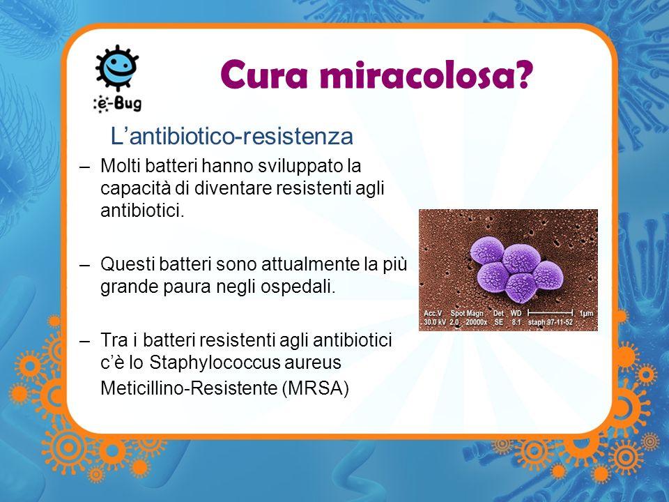 Antibiotico-Resistenza Le cause –Uso eccessivo Uso di antibiotici per trattare infezioni quando non è necessario o non sono efficaci, pesempio per infezioni virali come linfluenza –Uso improprio Ciclo prescritto non completato Uso di antibiotici prescritti ad altri o per unaltra patologia