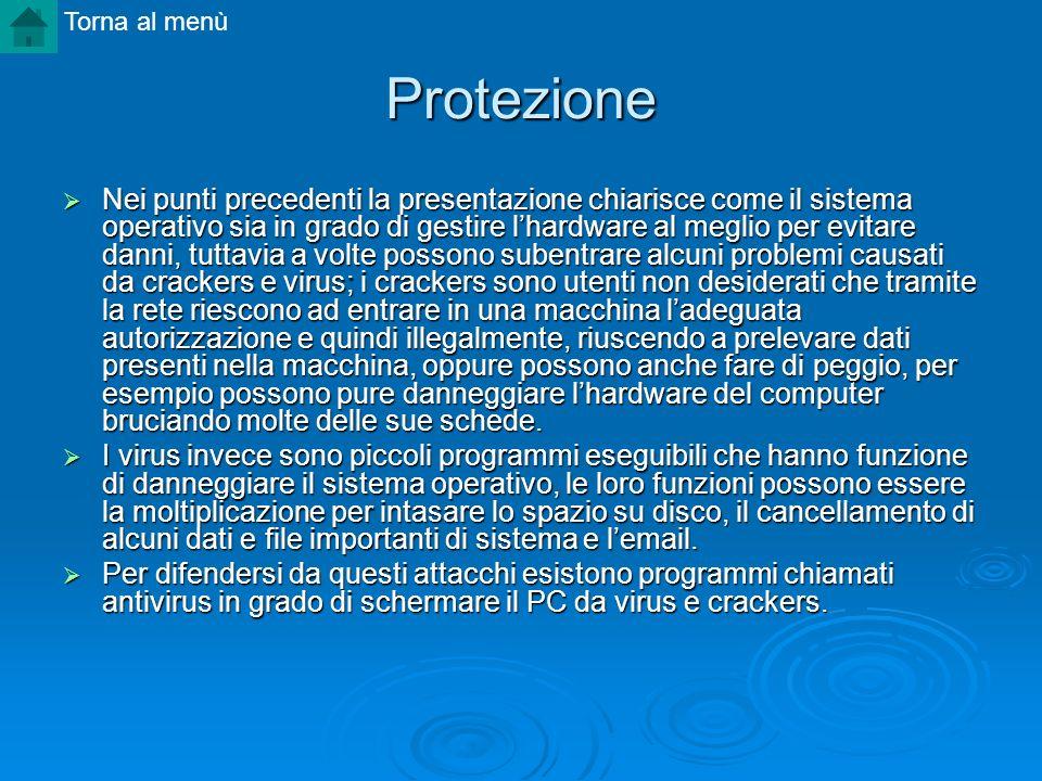 Protezione Nei punti precedenti la presentazione chiarisce come il sistema operativo sia in grado di gestire lhardware al meglio per evitare danni, tu