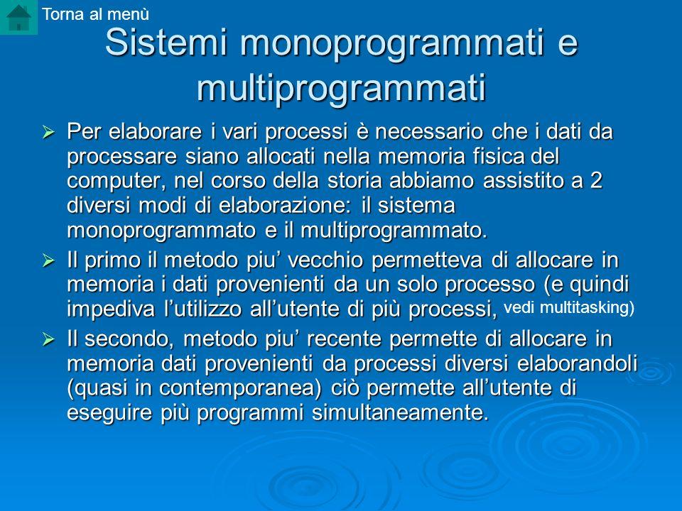 Sistemi monoprogrammati e multiprogrammati Per elaborare i vari processi è necessario che i dati da processare siano allocati nella memoria fisica del