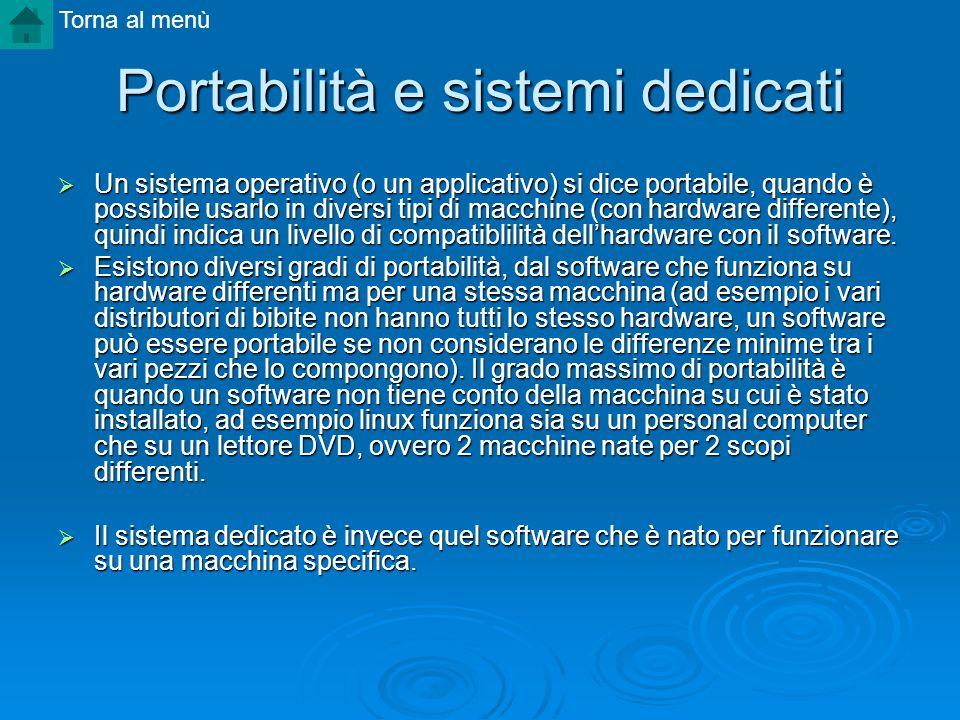 Portabilità e sistemi dedicati Un sistema operativo (o un applicativo) si dice portabile, quando è possibile usarlo in diversi tipi di macchine (con h