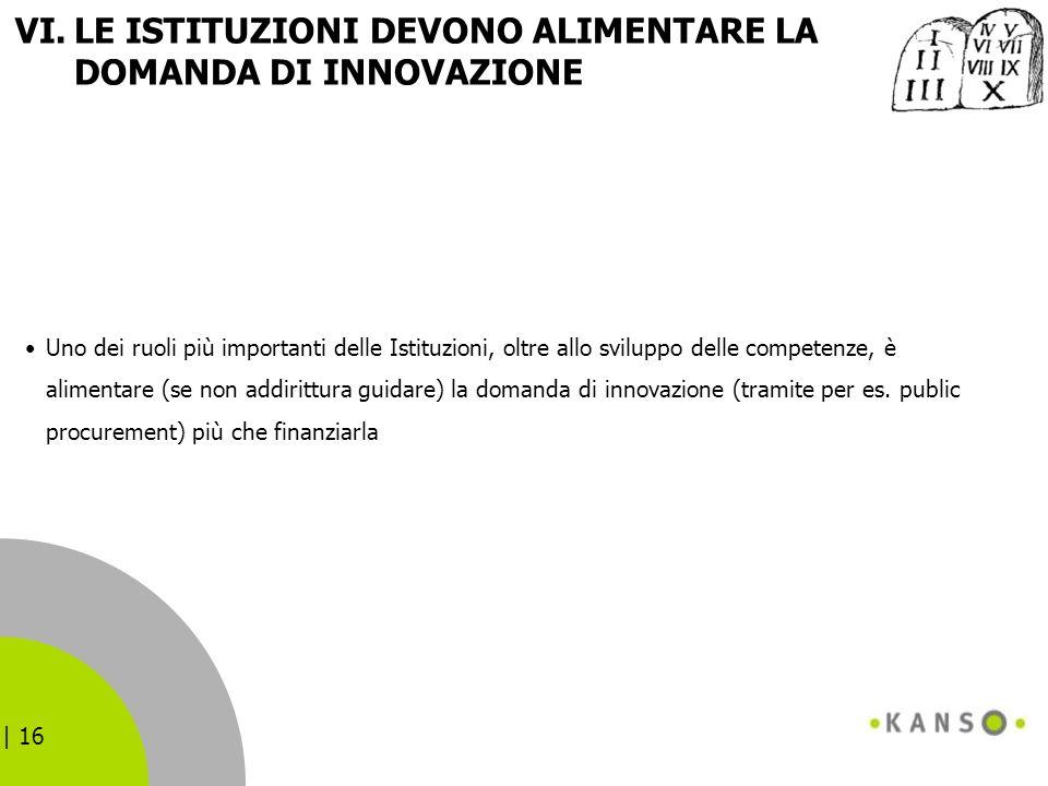 | 16 VI.LE ISTITUZIONI DEVONO ALIMENTARE LA DOMANDA DI INNOVAZIONE Uno dei ruoli più importanti delle Istituzioni, oltre allo sviluppo delle competenz