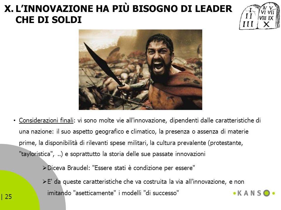 | 25 X.LINNOVAZIONE HA PIÙ BISOGNO DI LEADER CHE DI SOLDI Considerazioni finali: vi sono molte vie all'innovazione, dipendenti dalle caratteristiche d