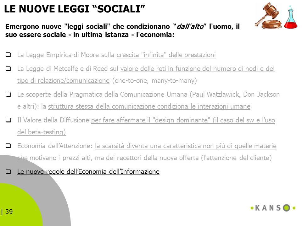 | 39 LE NUOVE LEGGI SOCIALI La Legge Empirica di Moore sulla crescita