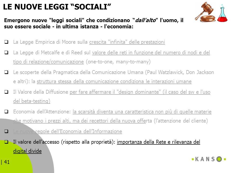 | 41 LE NUOVE LEGGI SOCIALI La Legge Empirica di Moore sulla crescita