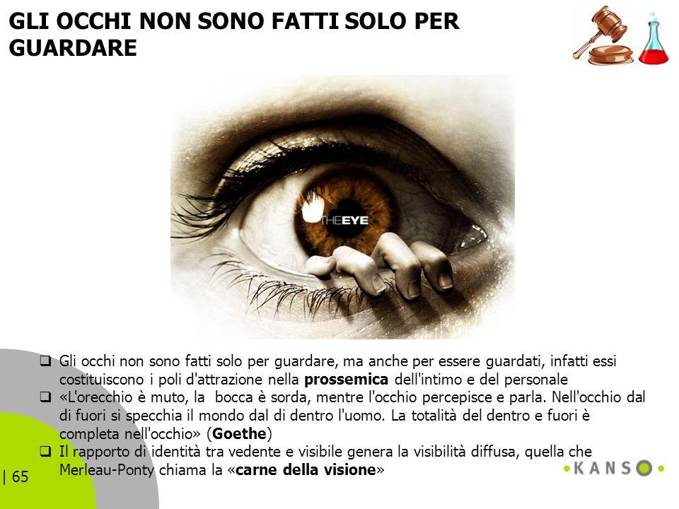 | 65 GLI OCCHI NON SONO FATTI SOLO PER GUARDARE Gli occhi non sono fatti solo per guardare, ma anche per essere guardati, infatti essi costituiscono i