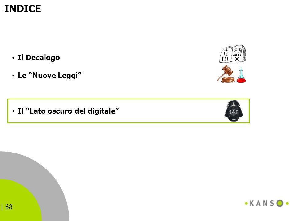 | 68 INDICE Il Decalogo Le Nuove Leggi Il Lato oscuro del digitale