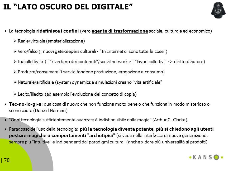 | 70 IL LATO OSCURO DEL DIGITALE La tecnologia ridefinisce i confini (vero agente di trasformazione sociale, culturale ed economico) Reale/virtuale (s