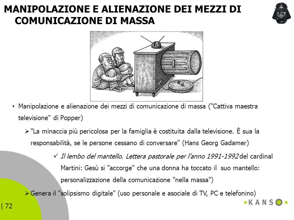 | 72 MANIPOLAZIONE E ALIENAZIONE DEI MEZZI DI COMUNICAZIONE DI MASSA Manipolazione e alienazione dei mezzi di comunicazione di massa (