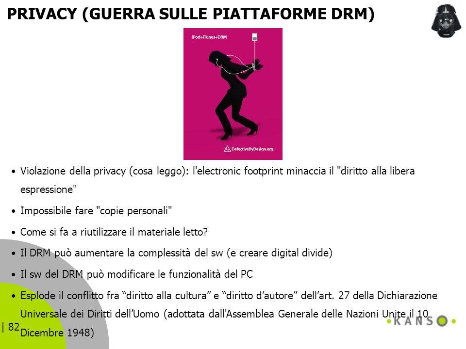 | 82 PRIVACY (GUERRA SULLE PIATTAFORME DRM) Violazione della privacy (cosa leggo): l'electronic footprint minaccia il