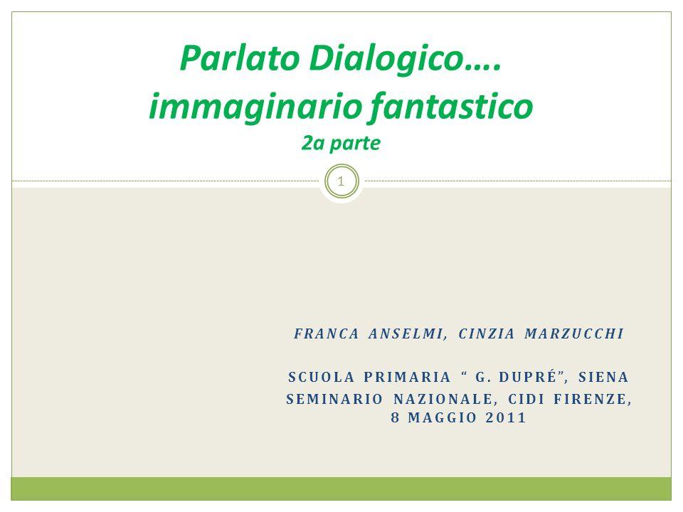 FRANCA ANSELMI, CINZIA MARZUCCHI SCUOLA PRIMARIA G. DUPRÉ, SIENA SEMINARIO NAZIONALE, CIDI FIRENZE, 8 MAGGIO 2011 1 Parlato Dialogico…. immaginario fa