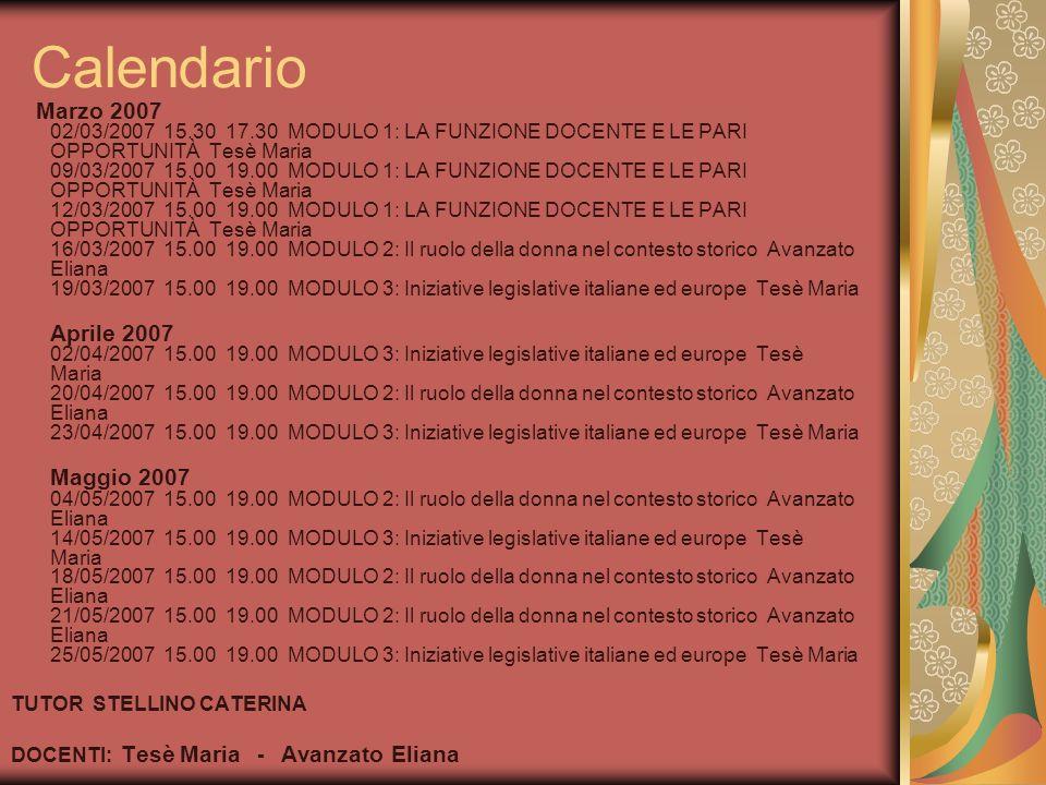 Calendario Marzo 2007 02/03/2007 15.30 17.30 MODULO 1: LA FUNZIONE DOCENTE E LE PARI OPPORTUNITÀ Tesè Maria 09/03/2007 15.00 19.00 MODULO 1: LA FUNZIO