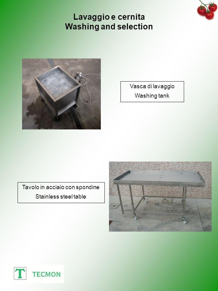 Vasca di lavaggio Washing tank Tavolo in acciaio con spondine Stainless steel table Lavaggio e cernita Washing and selection
