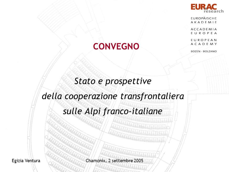 Egizia VenturaChamonix, 2 settembre 2005 CONVEGNO Stato e prospettive della cooperazione transfrontaliera sulle Alpi franco-italiane