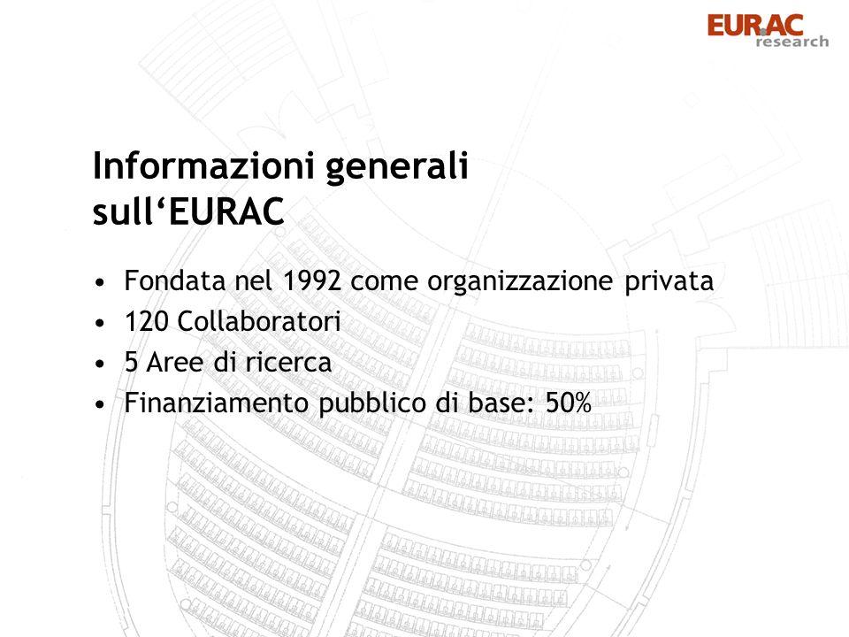 Fondata nel 1992 come organizzazione privata 120 Collaboratori 5 Aree di ricerca Finanziamento pubblico di base: 50% Informazioni generali sullEURAC