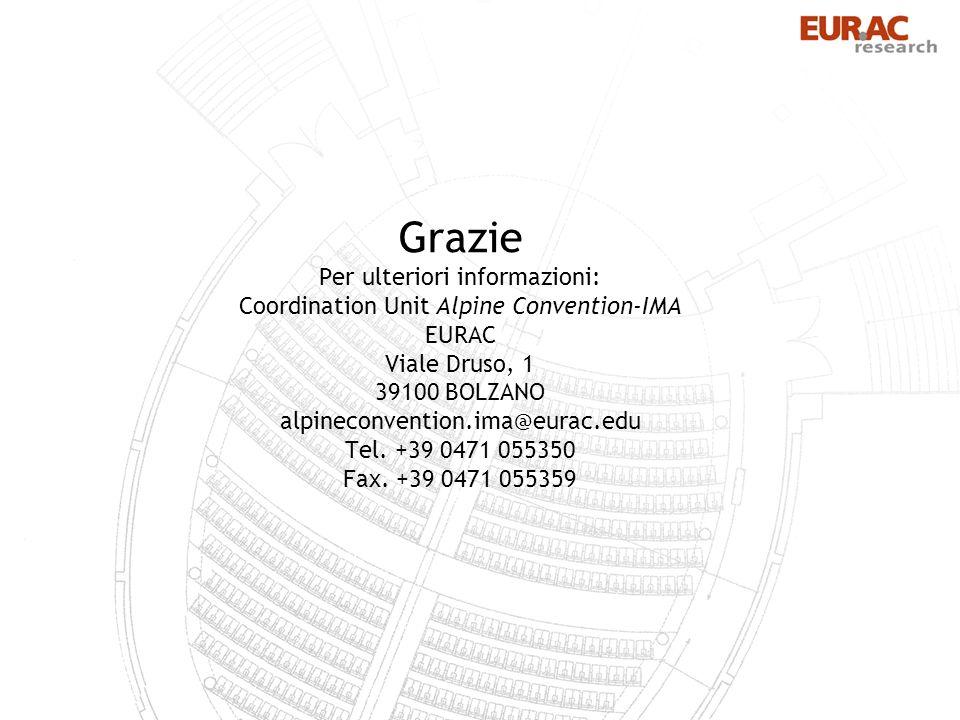 Grazie Per ulteriori informazioni: Coordination Unit Alpine Convention-IMA EURAC Viale Druso, 1 39100 BOLZANO alpineconvention.ima@eurac.edu Tel.