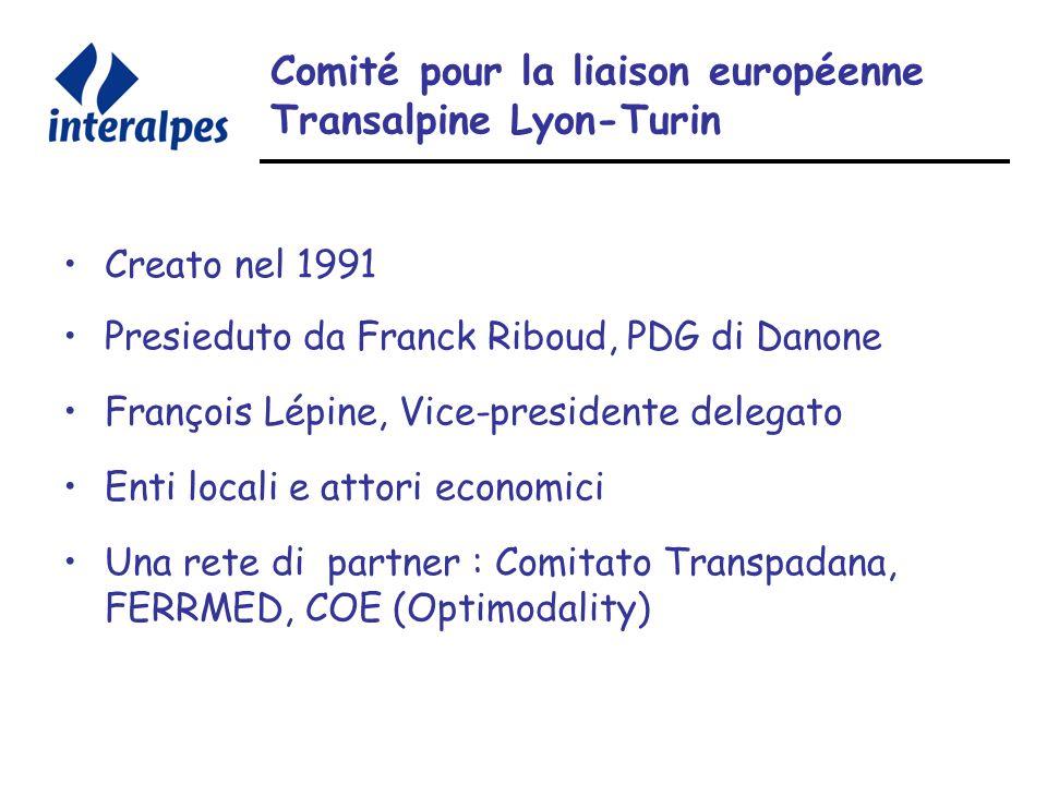 Comité pour la liaison européenne Transalpine Lyon-Turin Creato nel 1991 Presieduto da Franck Riboud, PDG di Danone François Lépine, Vice-presidente delegato Enti locali e attori economici Una rete di partner : Comitato Transpadana, FERRMED, COE (Optimodality)